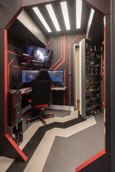 Gamer Room: 59 Super Stylish Photos and Decorating Tips Now – home – Game Room İdeas 2020 Computer Gaming Room, Gaming Room Setup, Gaming Rooms, Pc Setup, Desk Setup, Bedroom Setup, Boys Bedroom Decor, Video Game Rooms, Home Office Setup