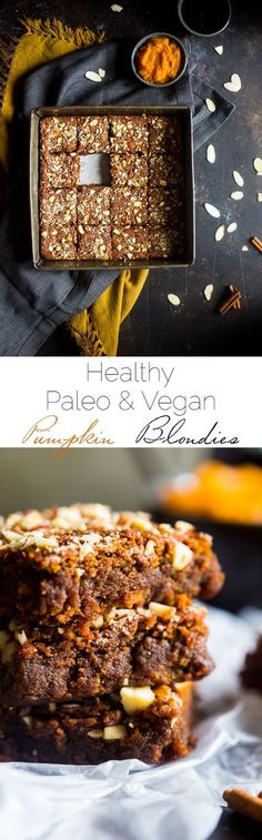 Vegan + Paleo Pumpkin Blondies - These one-bowl, pumpkin blondies are so dense, and sweet that you'd never know they're secretly healthy, have no butter or oil, and are only 105 calories! | http://Foodfaithfitness.com | /FoodFaithFit/