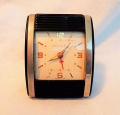 Vintage Travel Alarm Clock Westclox Travalarm Roll Art Deco Mid Century Works
