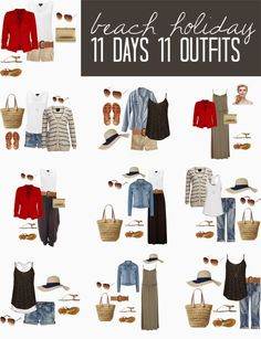 11 days 11 outfits. I ALWAYS overpack, without fail. I wonder if this would work for me for the touring part of our holiday before we hit the beach?