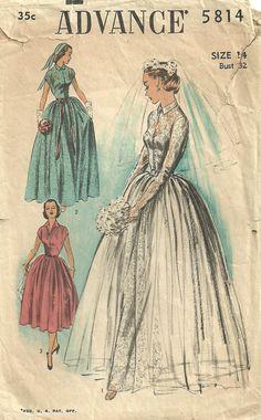 Advance 5814 Vintage 50s Bridal Sewing Pattern by studioGpatterns