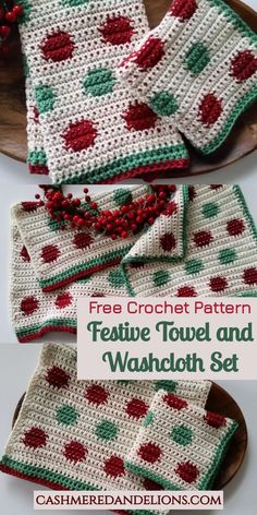 This is a free crochet pattern for a festive fingertip towel and washcloth set - perfect for gift giving this holiday season! Crochet Dish Towels, Crochet Kitchen Towels, Crochet Dishcloths, Blanket Crochet, Crochet Granny, Holiday Crochet Patterns, Tapestry Crochet Patterns, Crochet Christmas, Knitting Patterns