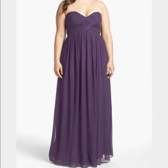 Donna Morgan Ruched Sweetheart Silk chiffon Gown. Elegant Gown True to size. Available at Nordstrom for $240. This item is also available in a size 22w in Fuchsia. Donna Morgan Dresses Asymmetrical