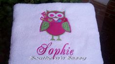 Personalize Large Appliqué Owl Towel For Pool by southernnsassy, $25.00