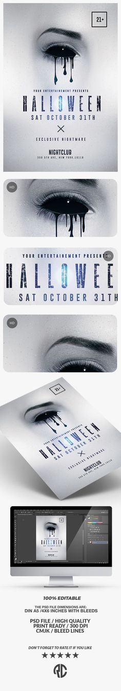 Need new Templates? Check out Halloween Minimalist Flyer by @romecreation on @CreativeMarket - #creativemarket #minimalist #halloween #invitation #poster #graphics #flyer #party #template