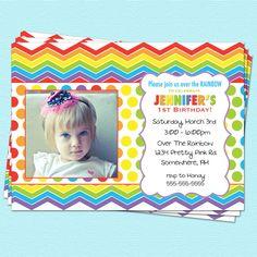 Rainbow Birthday Invitation Chevron First Birthday Printable Party. $14.00, via Etsy.