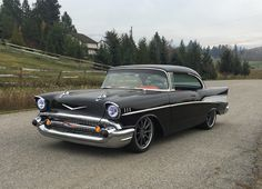 """Does today feel like """"Tri-Five Tuesday"""" to you? Our friends at Custom Wheels for Less equipped Robbie's '57 Chevy Bel Air, built by British Columbia's RH Racecars, with these RB3C wheels. It's powered by a stroked LS3 and rides on an Art Morrison chassis, Ford 9 inch rear end, Wilwood disc brakes, and 19x9/20x13 Forgeline RB3C wheels finished with Titanium centers & Polished outers! See more at: http://www.forgeline.com/customer_gallery_view.php?cvk=1647 #BelAir #protouring #CW4L #Forgeline"""