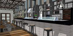 Ideas de #Bar, estilo #Vintage color  #Marron,  #Gris,  #Gris, diseñado por F