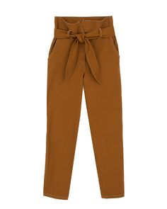 JUDE - Paperbag waist pants - Spice brown Evening Cocktail, Spice, Hanger, Drawers, Pajama Pants, Sweatpants, Legs, Denim, Brown
