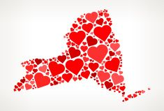 New York Icon with Red Hearts Love Pattern vector art illustration