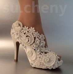 "3"" 4"" heel satin white ivory lace pearls open toe Wedding shoes bride size 5-9.5 