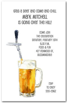 Beer And Tapper Invitations Adult Birthday 60th 40th Parties