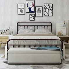 New HOMERECOMMEND Metal Bed Frame Queen Size Steel Slats Platform Base Box Spring Replacement Foundation Headboards & Heavy Duty Steel Slats Living Room Guest Room online shopping - Chictrendyfashion - Bronny Giacovetti Queen Size Daybed Frame, Metal Bed Frame Queen, Metal Beds, Modern Headboard, Headboard And Footboard, Headboards, Metal Platform Bed, Bronze, Under Bed Storage