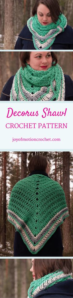 The Decorus Shawl - a crochet pattern. A shawl crochet pattern for a quick & easy project. Perfect in both cotton & wool. Make this in just an evening or a few days. Crochet Triangle Scarf, Crochet Scarf Easy, Crochet Shawls And Wraps, Easy Crochet Patterns, Knitting Patterns, Crochet Hats, Scarf Patterns, Crochet Clothes, Crochet Ideas