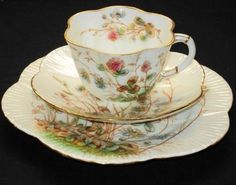 Shelley Wileman The Foley China Dainty Clover Tea Cup and Saucer Trio