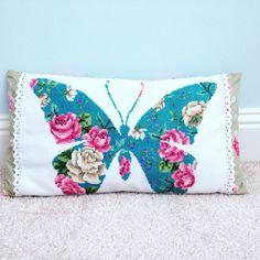 Cross stitch butterfly cushion