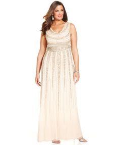 Patra Plus Size Beaded Cowl-Neck Gown   macys.com