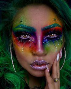 Creative Makeup Looks, Simple Makeup, Crazy Makeup, Cute Makeup, Awesome Makeup, Perfect Makeup, Make Up Braut, Rainbow Makeup, Rainbow Eyes