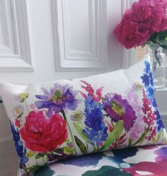 Ready made plain white linen or cotton pillow covers & watercolor them!!!!!
