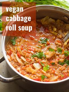 This cozy soup tastes like a cabbage roll! Made with a hearty mix of quinoa and lentils simmered in savory tomato broth, this soup is as healthy as it is delicious! Vegan, vegetarian, and packed with flavor! Vegan Cabbage Recipes, Vegetarian Cabbage Rolls, Vegan Dinner Recipes, Veg Recipes, Vegan Dinners, Whole Food Recipes, Vegetarian Recipes, Cooking Recipes, Healthy Recipes