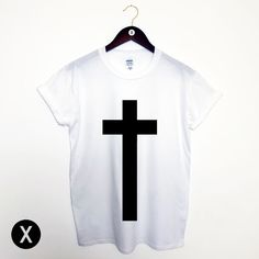 CROSS PRINT T SHIRT / MENS PRINTED GRAPHIC HIPSTER TEE / RELIGION SWAG TOP MAN