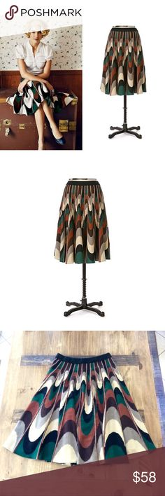 """2007 Anthro Walnut Cavern Skirt Very rare full swing skirt by Viola from back in 2007. Absolutely gorgeous, and I've treasured this since I bought it. Unfortunately in South Florida the weather doesn't allow for sweater skirts so I've only worn this once. It's in perfect condition, the waist is 13"""" (lots of stretch) and the length is 25.5"""". Seems to run big and likely would fit a medium as well but definitely go by the measurements. The colors are ivory, jade, brown, and black and the fabric…"""