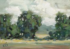 TOM BROWN FINE ART: CLOUDS, TREES, MOUNTAINS, TOM BROWN, 5x7 inch PLEIN AIR IMPRESSIONIST ORIGINAL OIL PAINTING