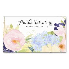 Pastel Spring Flowers Personalized Business Card