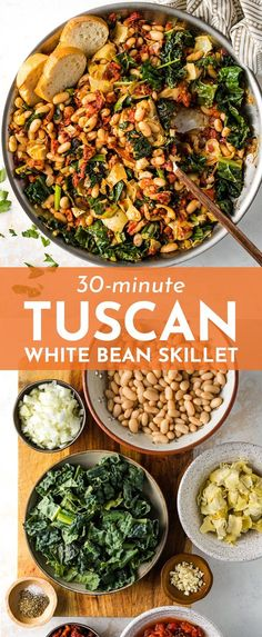 A Tuscan White Bean Skillet is the ultimate way to change up your easy weeknight meals! Great flavors from garlic, sun-dried tomatoes, and artichoke hearts, and easy to make in under 30 minutes! Perfect easy vegetarian meal. Healthy Dinner Recipes For Weight Loss, Healthy Food Recipes, Tasty Vegetarian Recipes, Vegetarian Recipes Dinner, Vegan Dinners, Veggie Recipes, Whole Food Recipes, Cooking Recipes, Easy Veggie Meals