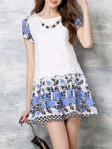 Floral Patchwork Printed Puff Sleeve Chic Round Neck Shift-dress