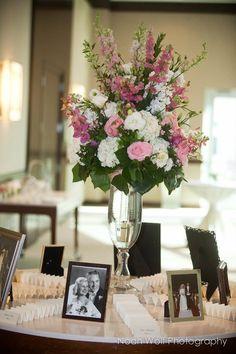 place card table idea - show off wedding pictures of parents, grandparents, aunts & uncles, etc