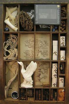 Original Art Assemblage Shadow Box (Malcolm Studio Shop)