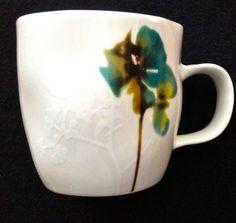 STARBUCKS Coffee Mug HTF MINT UNIQUE Teal & Brown Floral Bone China Tea Cup