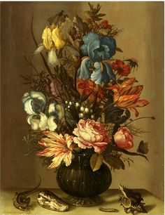 artsandcrafts28:  Still Life of Roses, Tulips, Irises, French Marigold, etc. Balthasar van der Ast circa 1628-1632