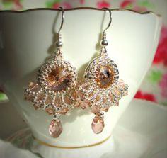 Rose Pearl Earrings, Drop Earrings, Pearls, Rose, Jewelry, Pearl Studs, Pink, Jewlery, Jewerly