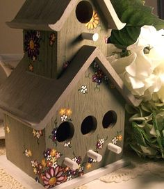 Birdhouse Hand Painted Birdhouse with by UnderTheNumNumTree, $35.00