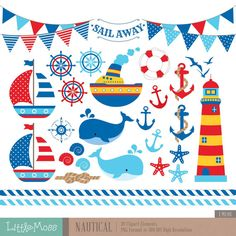 Nautical Digital Clipart by LittleMoss on Etsy