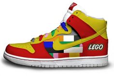 Less painful option of Lego foot. The red and the yellow make me also think McD's. The laces have the problem again.