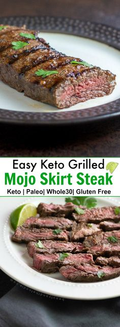 Easy Keto Grilled Mojo Skirt Steak is tender, marinated steak recipe that has citrus, spices & Latin flavors. It is low carb, keto, paleo & Primal Recipes, Lamb Recipes, Meat Recipes, Real Food Recipes, Low Carb Recipes, Dinner Recipes, Healthy Recipes, Ketogenic Recipes, Lunch Recipes