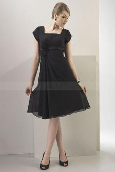 Black Chiffon Bridesmaid Dress with Sash and Floral Embellishment