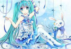Hatsune Miku with a bunny doll