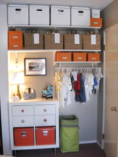 Create a seriously tidy closet for baby with labeled storage bins and baskets. Clothes grouped by size will make dressing junior a snap. Add a small dresser for storing foldable clothes and tiny togs. I love when things are where they are supposed to be!!! just ask my husband!! : ]@Allison j.d.m j.d.m Gay