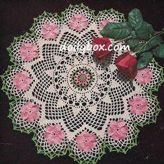Free Crochet Pattern Wild Rose Doily