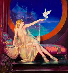 "Blonde Pinup Girl with Dove | Tattoo Ideas & Inspiration - Pinups | Henry Clive - ""Sultana"""