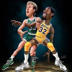 Larry Bird vs Magic Johnson Art Fridge Magnet Size x Basketball Is Life, Basketball Pictures, Basketball Legends, Basketball Players, Magic Basketball, Sports Basketball, Magic Johnson, Larry Bird, Funny Caricatures