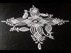 Peacock rangoli in padi kolam Simple Rangoli Designs Images, Rangoli Designs Flower, Rangoli Border Designs, Rangoli Designs With Dots, Rangoli Designs Diwali, Kolam Rangoli, Beautiful Rangoli Designs, Easy Rangoli, Free Hand Rangoli Design