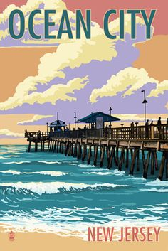 Ocean City, New Jersey - Fishing Pier - Lantern Press Poster