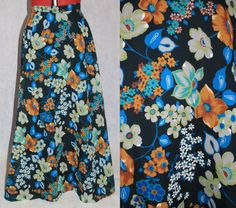 Vintage Sheer Floral Print Maxi Skirt by PatternVintageLondon