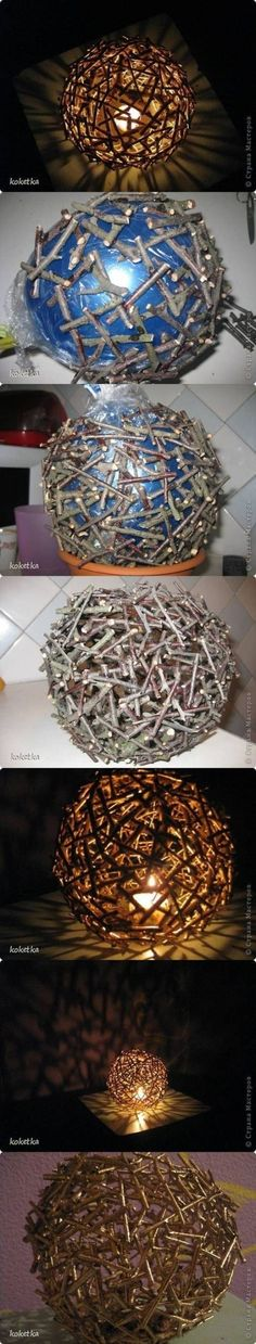 This could be done with nails, but it would be heavy, substitute some of the bottom ones with cut chop sticks that are spay painted, could rust the nails also. Hang: