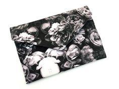 Handmade Monochrome Roses Envelope Clutch Bag IV from maxandrosie.co.uk